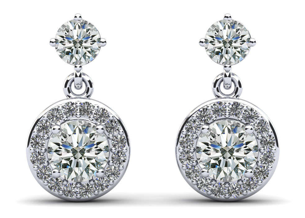 Heavenly Halo Drop Earrings 1.08 Carat Total Weight