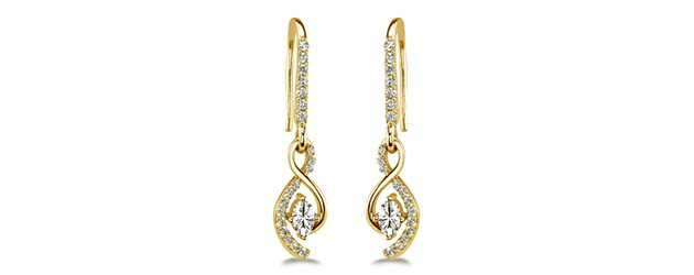 S Drop Designer Earrings 0.03 Carat Total Weight