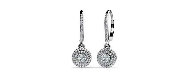 Designer Diamond Cluster Lever Back Earrings 5/8 Carat Total Weight