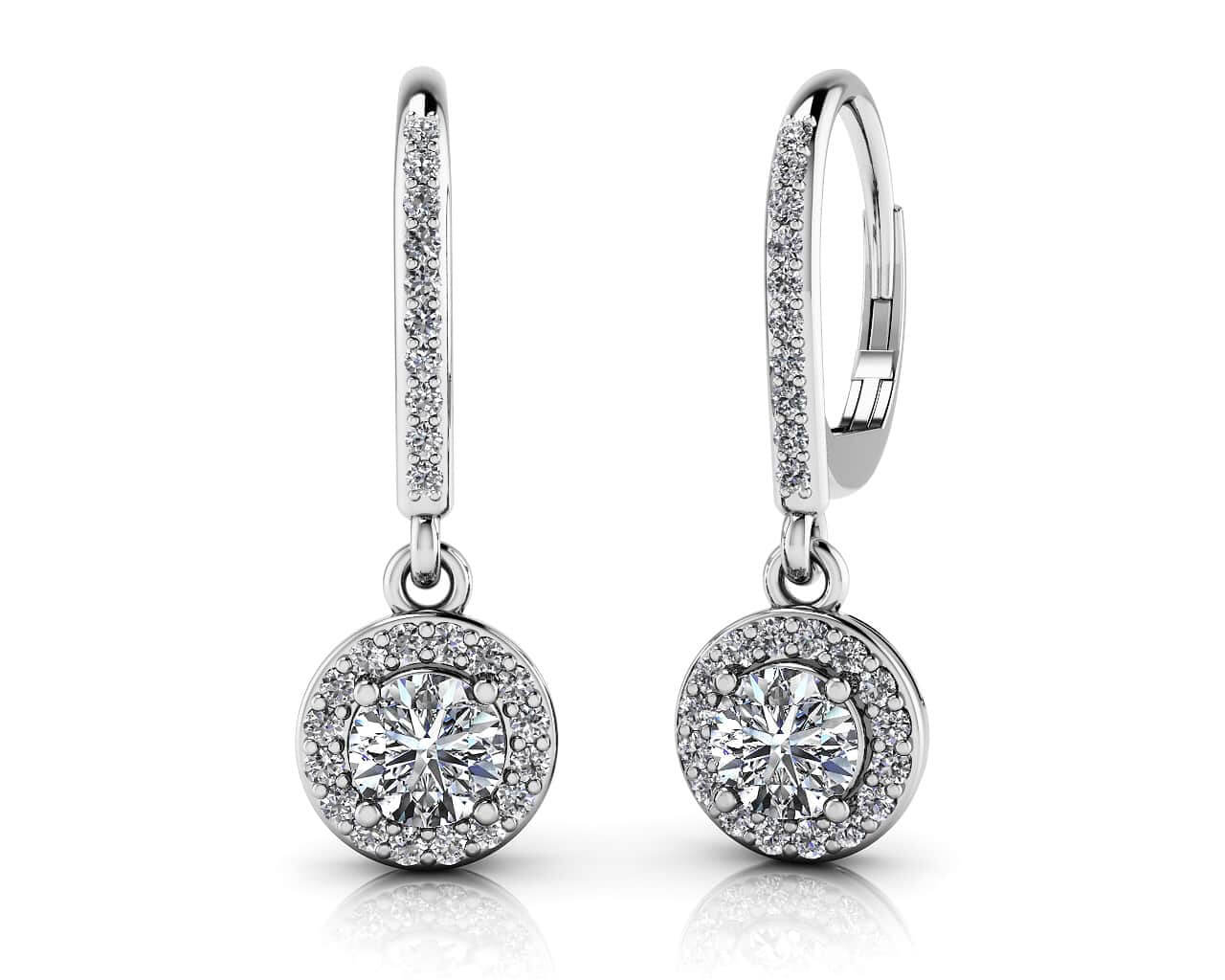 Hanging Diamond Clustered Leverback Earrings 3/4 Carat Total Weight
