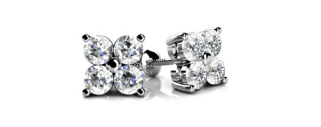 4 Stone Cer Diamond Stud Earrings 1 2 Carat Total Weight