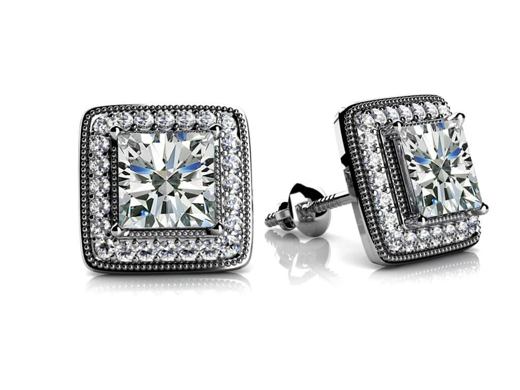 Miligrain Princess Cut Diamond Stud Earrings 1/2 Carat Total Weight