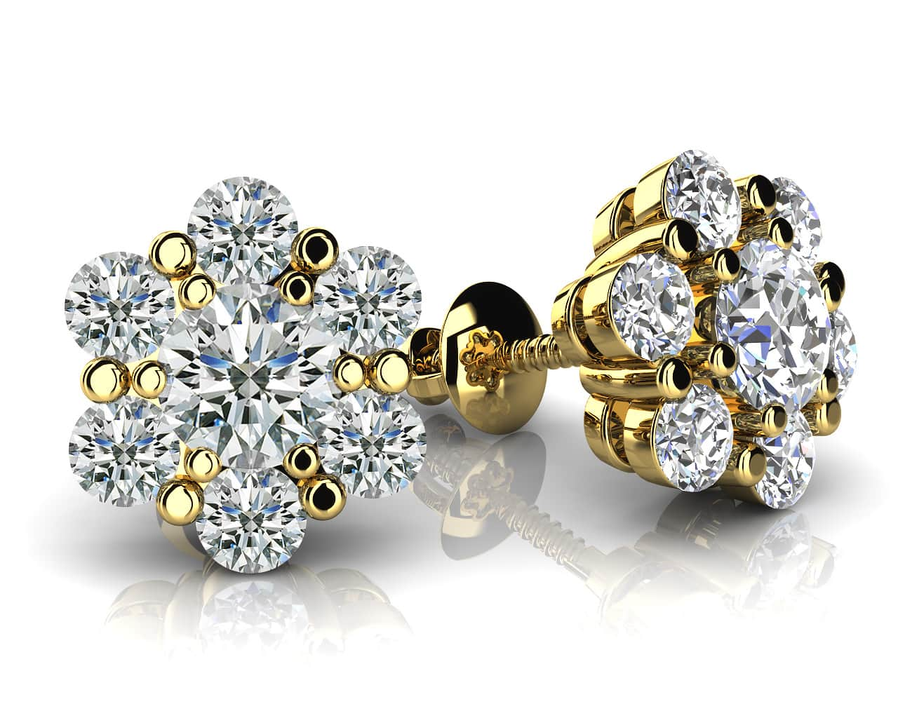 Flower Shaped Diamond Cluster Stud Earrings 1/2 Carat Total Weight