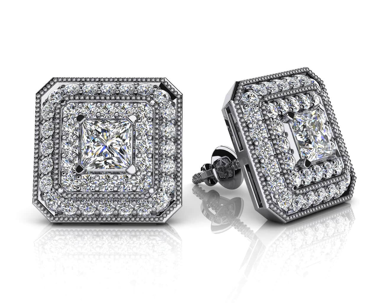 Square Shaped Pricess Cut And Round Diamond Earrings 0 71 Carat Total Weight