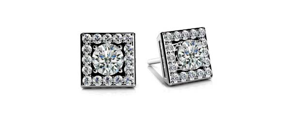 Diamond Centered Square Stud Designer Earrings 1/3 Carat Total Weight