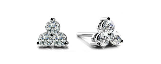 3 Stone Cluster Diamond Stud Earrings 1/5 Carat Total Weight