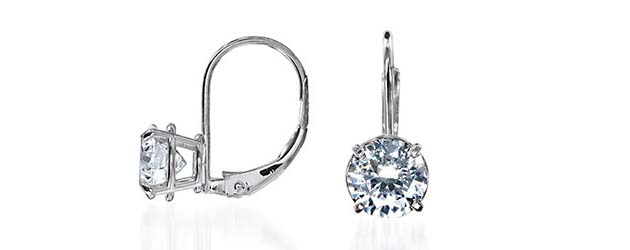 Basket On Leverback Earrings 1 5 Carat Total Weight Diamond Stud