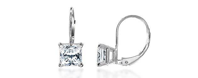 Princess Cut On Leverback Earrings 1 5 Carat Total Weight Diamond Stud