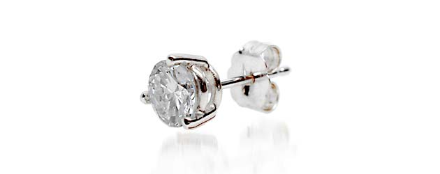 Mens 3 Prong Wired Basket Stud Earring 1/10 Carat Total Weight