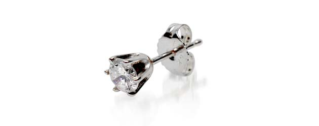 Mens 6 Prong Stud Earring 1/10 Carat Total Weight