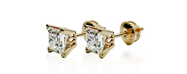4 Prong Scroll Style Diamond Stud Earrings 1/5 Carat Total Weight