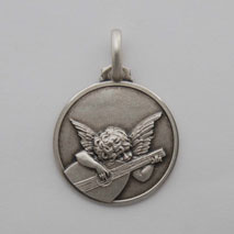 Sterling Silver Angelo Musicante Medal
