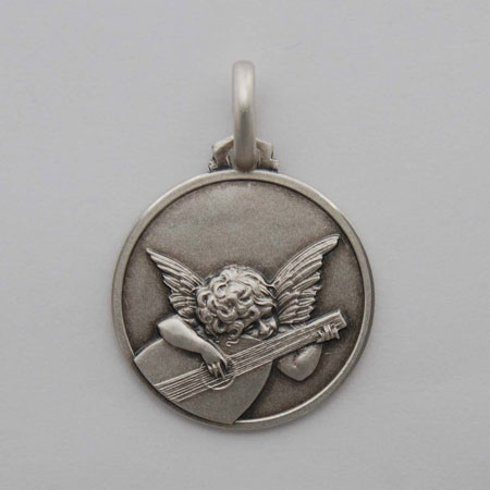 12mm Sterling Silver Angelo Musicante Medal