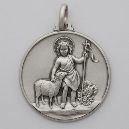 25mm Sterling Silver Young John the Baptist Medal