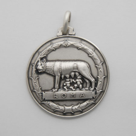 21mm Sterling Silver Lupa Medal