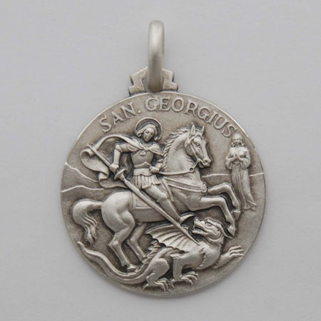 18mm Sterling Silver St. George Medal
