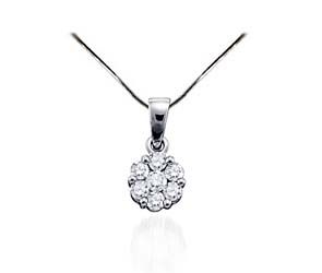 Diamond Flower Pendant<br> 1/4 Carat Total Weight
