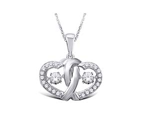 Double Hearts Moving Diamond Pendant