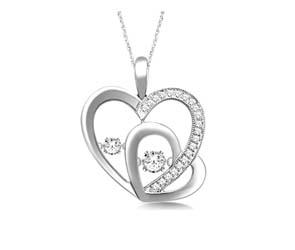 Two Hearts Moving Diamonds Pendant