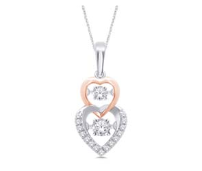 Dangling Hearts Moving Diamond Pendant