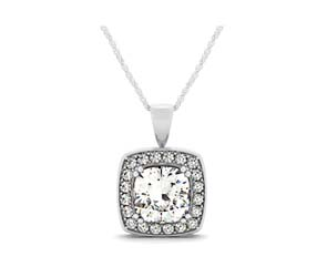 Cushion Prong Set Diamond Drop Halo Pendant