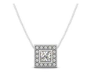 Hover Princess Bezel Diamond Halo Pendant