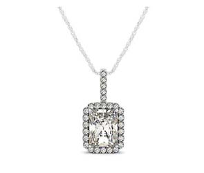 Drop Three Prong Halo Radiant Diamond Pendant