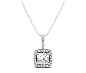 Drop Four Prong Halo Cushion Diamond Pendant