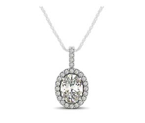 Drop Four Prong Halo Oval Diamond Pendant