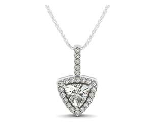 Trillion Cut Diamond Halo Pendant