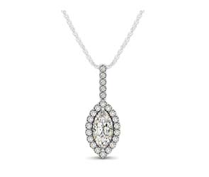 Drop Four Prong Halo Marquis Diamond Pendant