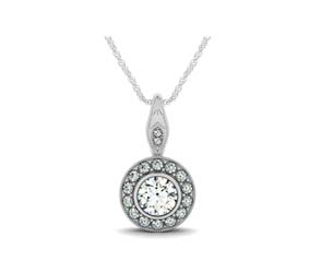 Bezel Set Two Stone Bail Round Diamond Pendant