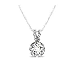Double Diamond Lined Bail Halo Pendant