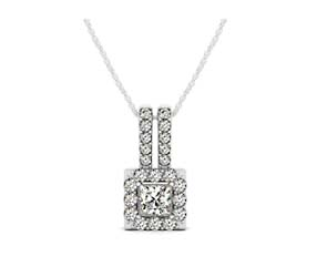 Double Diamond Lined Bail Square Halo Pendant