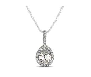 Drop Four Prong Halo Pear Diamond Pendant