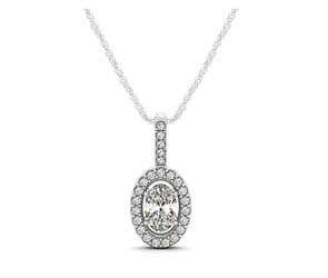 Oval Cut Diamond Halo Pendant