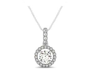 Centered Diamond Halo Pendant