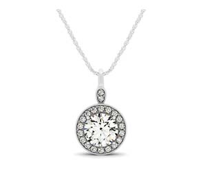 Drop Diamond Solitaire Bail Halo Pendant