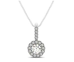 Diamond Round Circle Halo Pendant