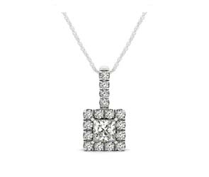 Drop Four Prong Halo Princess Cut Diamond Pendant