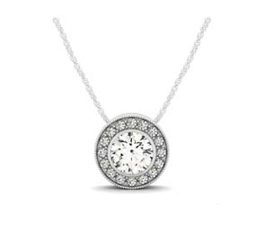 Artistic Diamond Halo Pendant