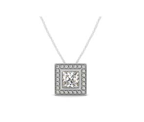 Square Halo Bezel Set Diamond Button Pendant