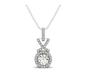 Criss Cross Link Diamond Bail Halo Pendant