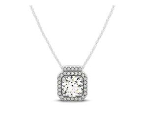 Diamond Row Halo Button Pendant