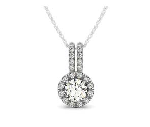 Double Diamond Lined Bail Round Halo Pendant