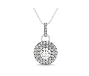 Double Halo Ring Style Bail Diamond Pendant