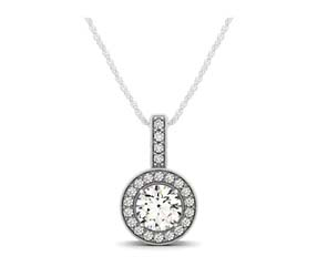 Drop Diamond Bezel Halo Pendant