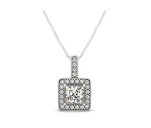 Drop Halo Square Cut Diamond Bezel Pendant