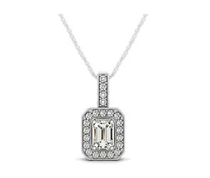 Drop Halo Emerald Cut Diamond Bezel Pendant