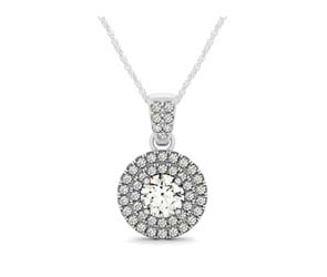 Double Halo Double Diamond Row Bail Pendant